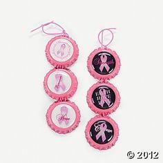 Pink Ribbon Bottle Cap Craft Kit
