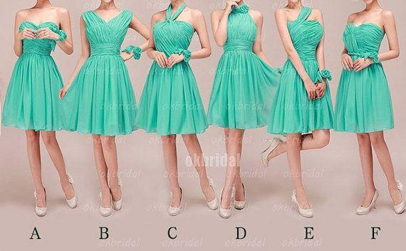 Green Bridesmaid Dresses, Mismatched Bridesmaid Dresses, short Bridesmaid Dresses, cheap Bridesmaid Dresses, CM473