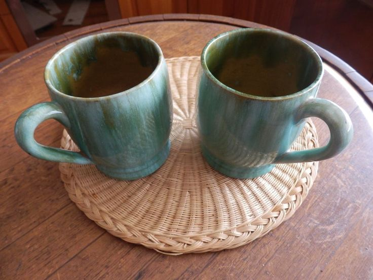A Pair of  Signed John Campbell Pottery Large  Glazed Tankards Mugs
