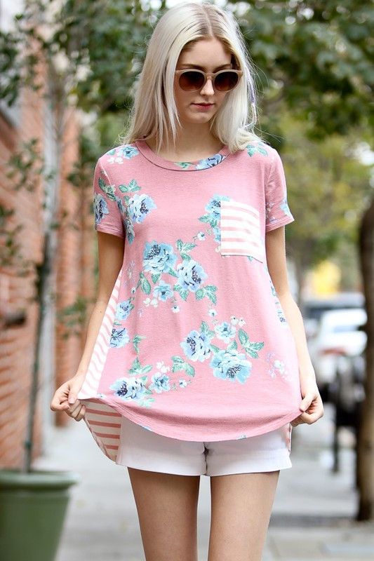 Floral/Striped Short Sleeve Top