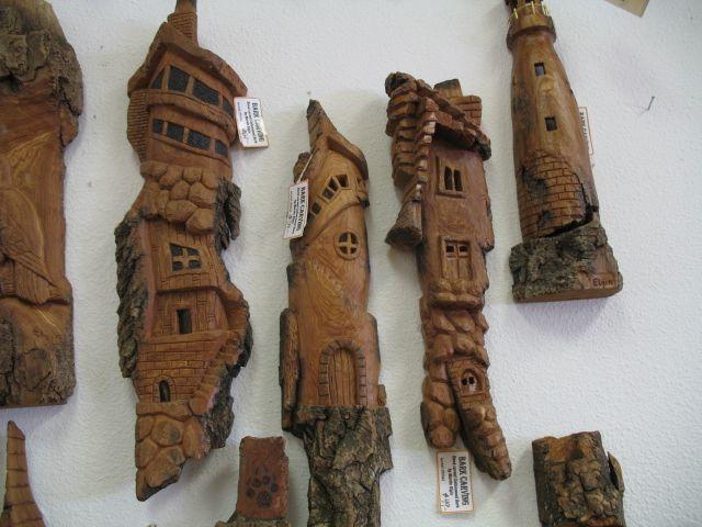 Wood carving cottonwood bark carvings sisters log