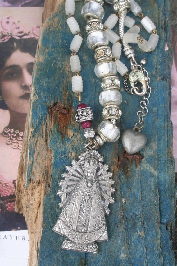 Rosary necklace Religious assemblage Pocket Shrine Vintage