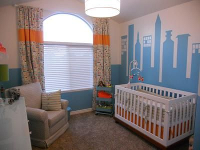 Modern Cityscape Nursery Theme for a Baby Boy: I found a fabric that got my cityscape nursery theme ideas for a baby boy and my creativity flowing and then; I simply couldn't stop! I love textiles!