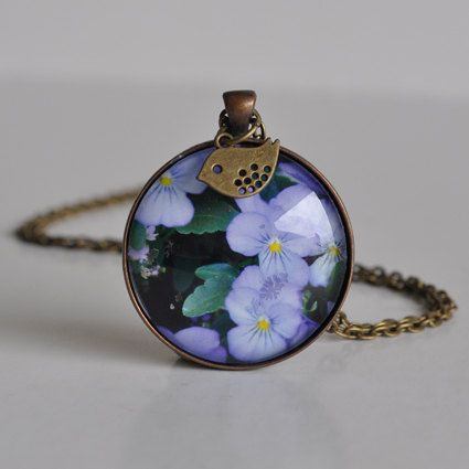 Blue Pansy Flower Necklace by WildSparrowDesign on Etsy https://www.etsy.com/listing/225634436/blue-pansy-flower-necklace