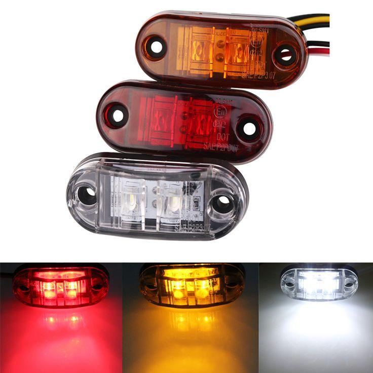 1 st 24 v 12 v Led Zijmarkeringslichten voor Trailer Vrachtwagens Caravan Side Ontruiming Marker Light Lamp Amber rood Wit 9-36 V
