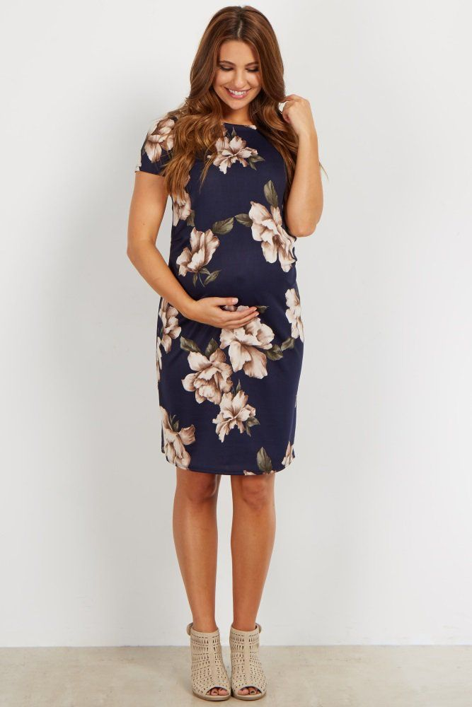 Your baby bump never looked better in this pretty floral maternity dress. With its gorgeous florals and fitted silhouette, this dress will make you feel and look amazing. Style this dress for a date night with a statement necklace and heels for a complete look.