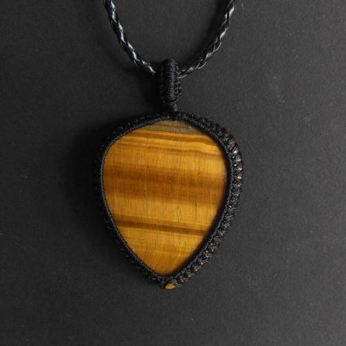 Tiger eye drop pendant - gemstone macrame jewelry