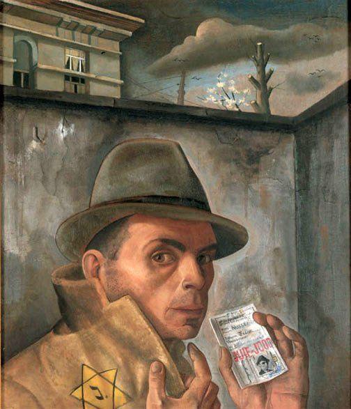 Felix Nussbaum: Selbstbildnis mit Judenpass, Brüssel 1943, Öl auf Leinwand. Deutscher Maler der Neuen Sachlichkeit. 1944 im KZ Auschwitz-Birkenau ermordet.