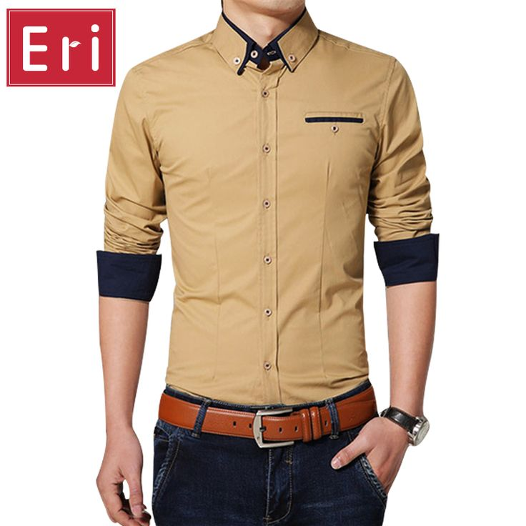 New Casual Shirts Luxury Long-Sleeved Business Slim Fit Stylish Men Dress  Shirts Solid Patchwork