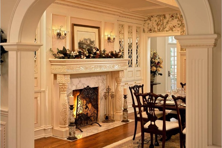 158 best traditional fireplace designs images on pinterest for Traditional dining room fireplace