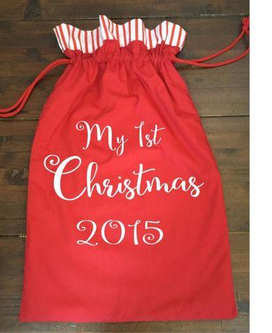 Calico Santa Sack - My 1st Christmas 2015 Red