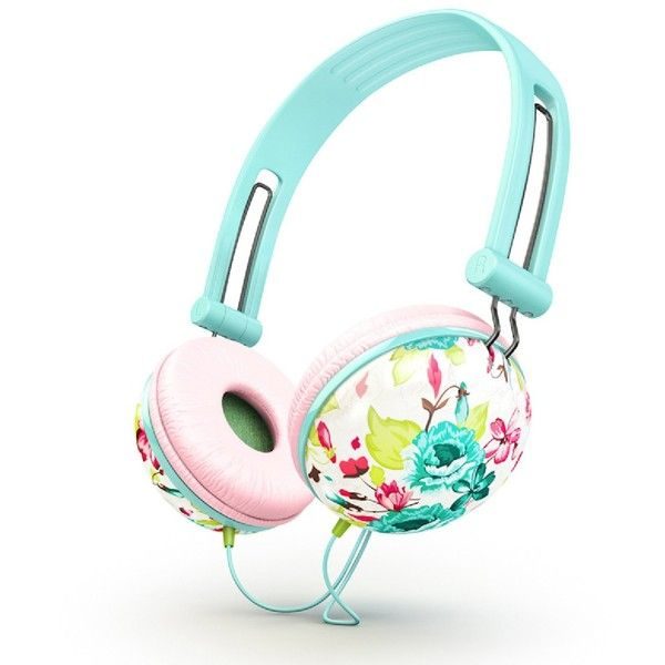 Ankit Fat Bass Noise Isolating Headphones Pastel Mint Floral