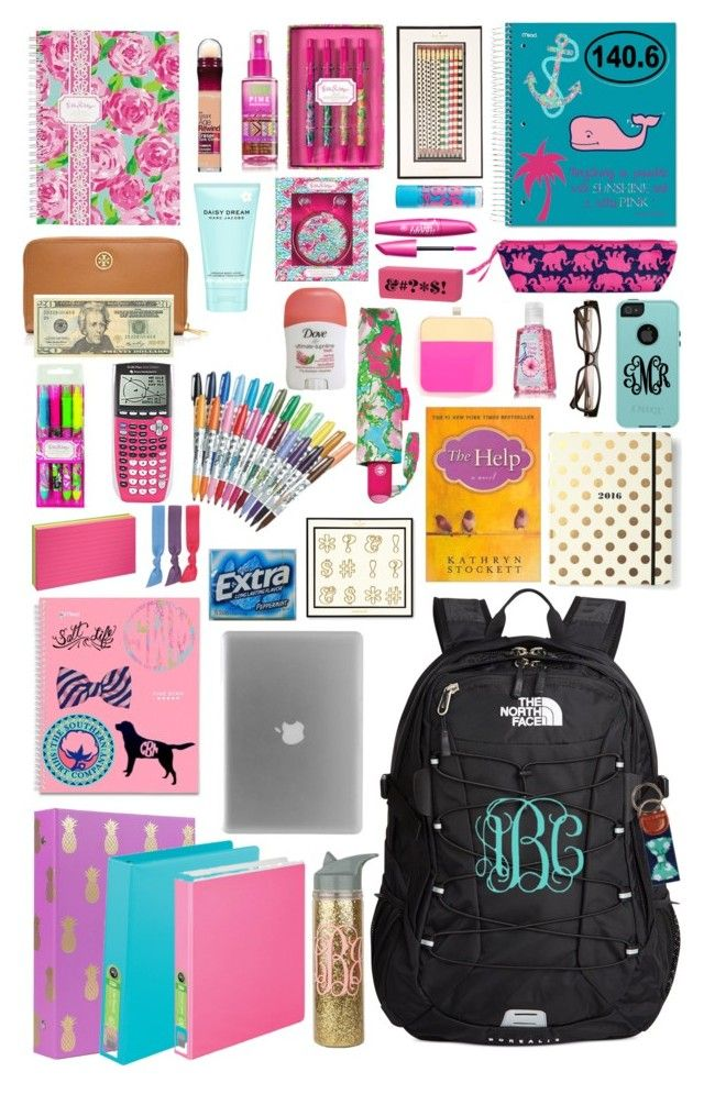 What's in my backpack: Tuesday by kaley-ii on Polyvore featuring polyvore, fashion, style, The North Face, Tory Burch, Lilly Pulitzer, Splendid, Marc Jacobs, Kate Spade, Vineyard Vines, ban.do, Nook, Sharpie, OtterBox, Katie, OPTIONS and mollysbtscontest