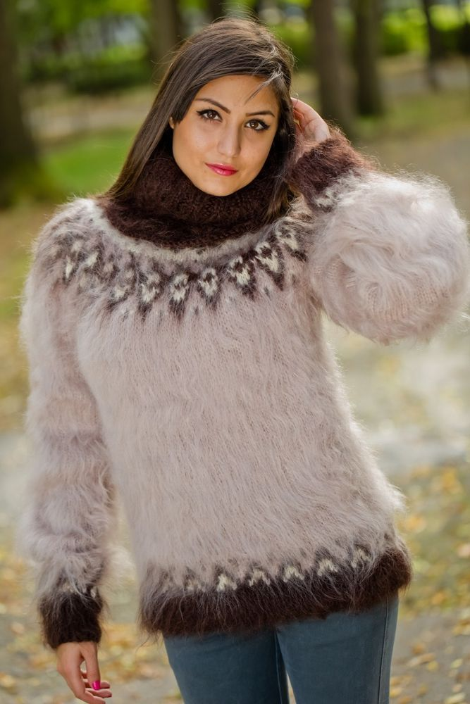 Tiffy Mohair Hand Knitted T- neck Icelandic Sweater Fuzzy Fluffy ...