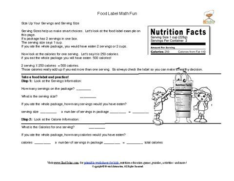 Worksheet Reading Food Labels Worksheet 1000 images about health on pinterest food pyramid groups labels also help children practice their math skills while computing servings here are some