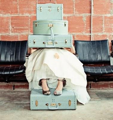 Light blue vintage suitcases...Lets GO