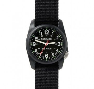 Bertucci watch with it's GMT dial and crown at 4 o'clock Waterproof nato strap