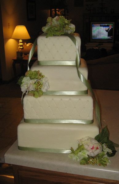 Faux Wedding Cake; with one real tier...use this tutorial for making faux cakes for a display table