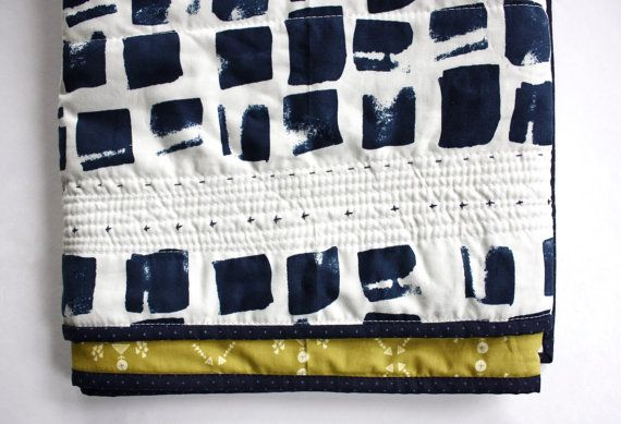 Le bébé de modern Love Indigo quilt  wholecloth par SwellandCloth