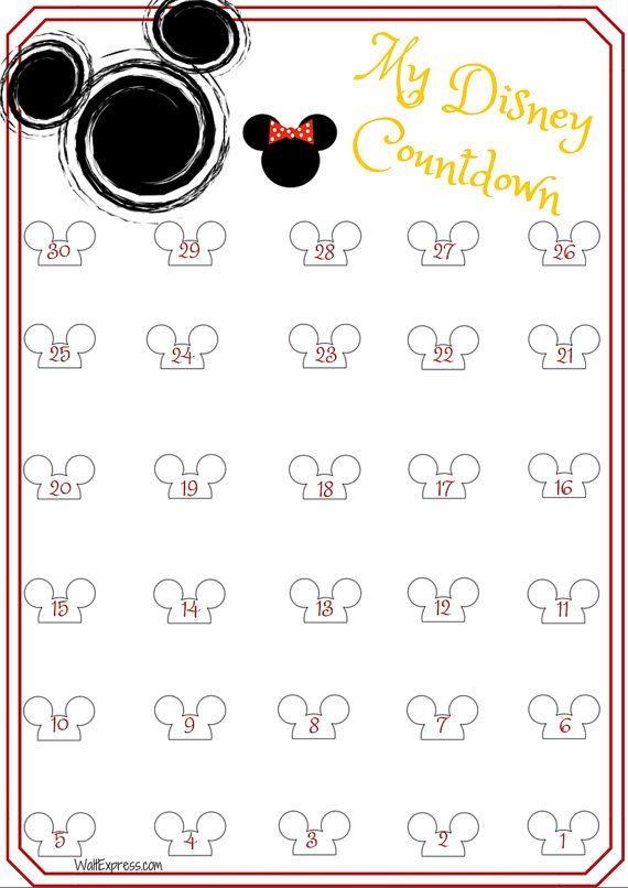 Disney downloadable 30 day countdown calendar #ad #disney #disneyworld #disneyland #disneycruise