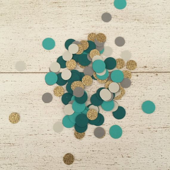 Gold Teal and Grey Paper Confetti. Premium by WildfireEvents