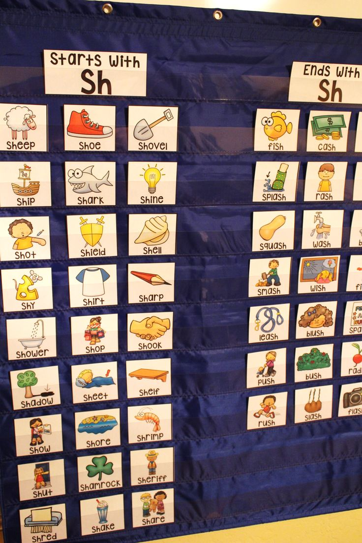 Awesome phonics sorts for pocket charts - SH digraph practice and there are others for all the other sounds too!!