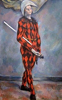 The term originally referenced the clown figure Arlecchino in the Italian traveling art troupe known as the Commedia dell' Arte (dating back to the 16th century). That figure is traditionally represented wearing diamond patterned multi-colored tights. Paul Cezannes' painting, Harlequin demonstrates this patterned motif and character: