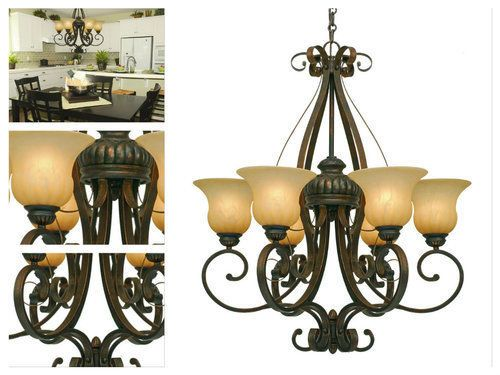 Rustic-Glass-Chandelier-Lighting-Vintage-Curved-Metal-6Lights-Ceiling-Shade-Nook