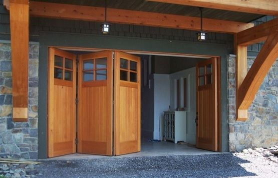 Bi fold garage doors with glass panels