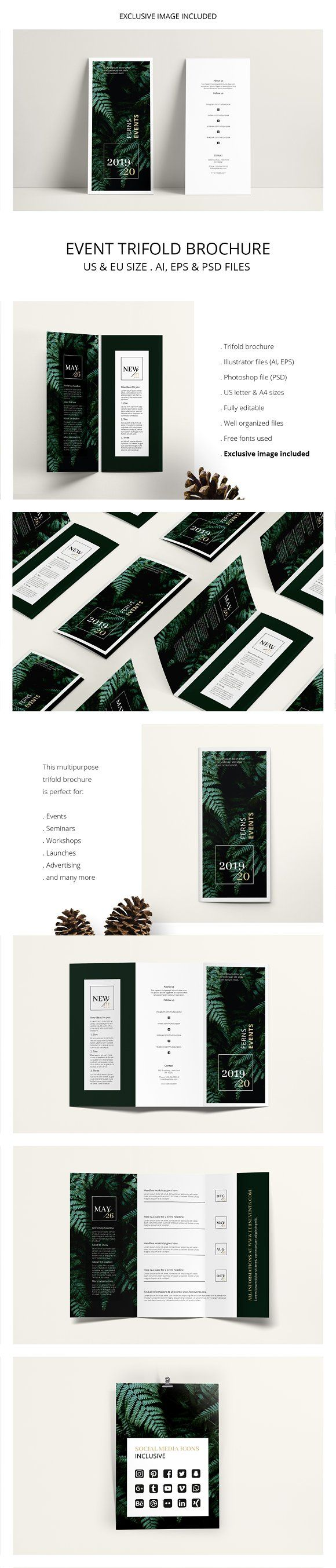 FERNS Trifold Event Flyer by AgataCreate on @creativemarket