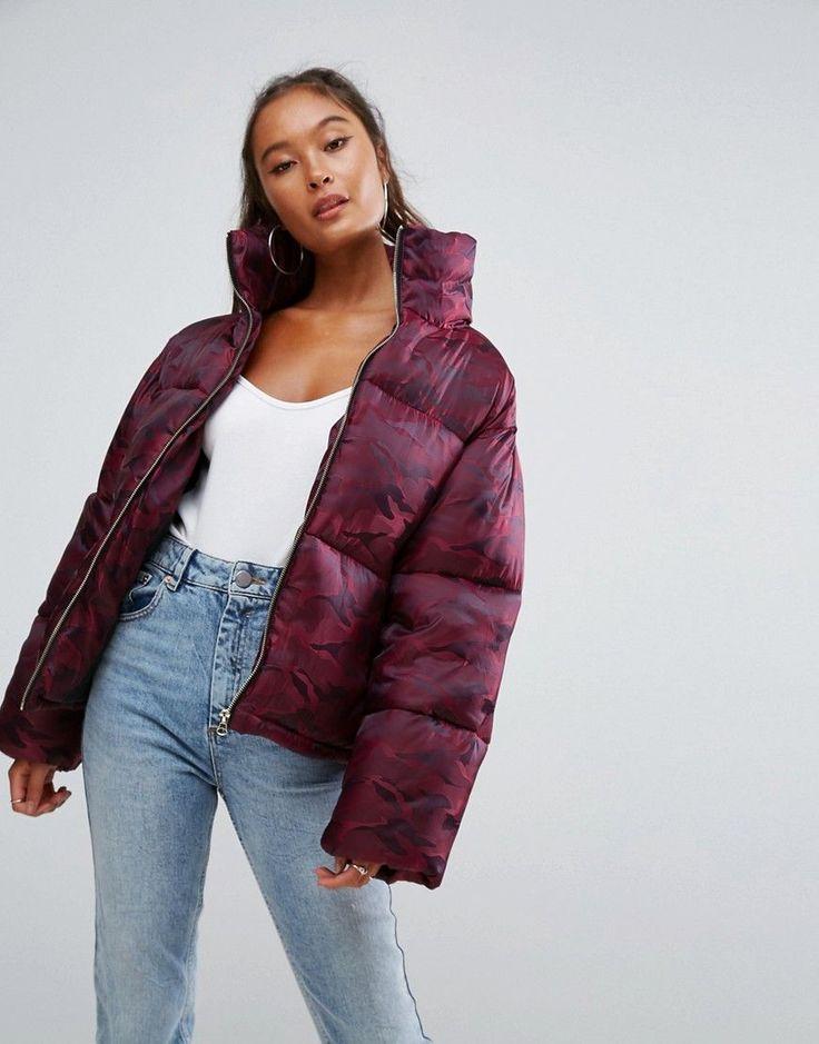 ASOS Puffer Coat in Camo - Red