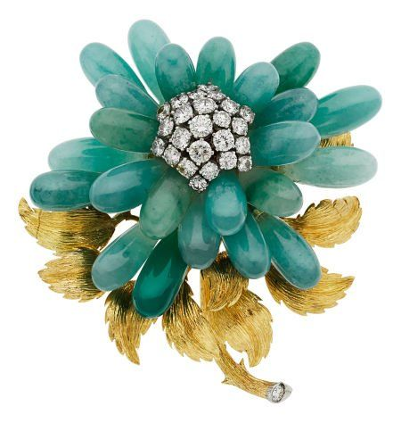 Diamond, Chalcedony, Gold Brooch, David Webb