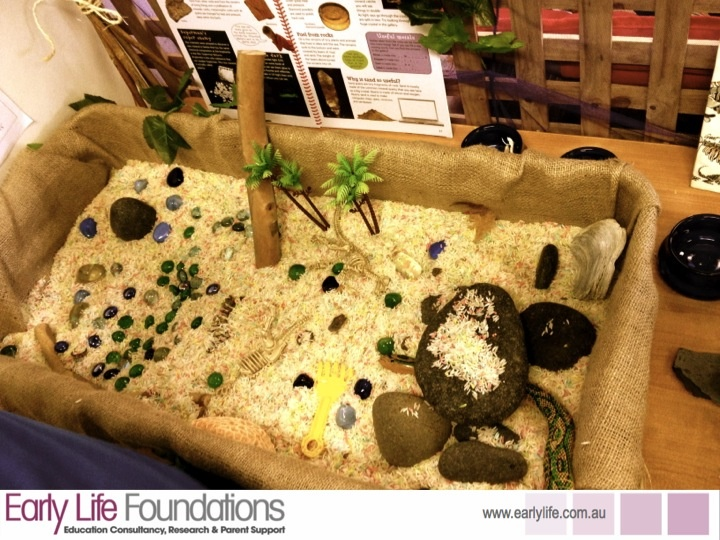 I like the idea of covering the inside of the sensory table with burlap. Makes it more natural looking. {Walker Learning School}
