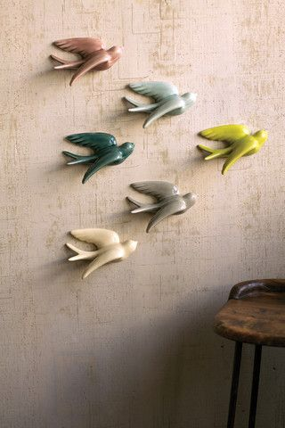 Kalalou Ceramic Swallows - Set Of 6 - Breath life into your space with these vibrant wall hanging feathered friends. The set includes six swallows, one of each color. Hardware not included.