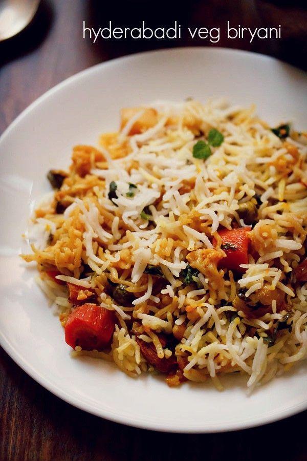 hyderabadi veg biryani recipe - a vegetable biryani recipe from the land of the nawabs -hyderabad. the hyderabadi vegetable biryani recipe is light, a bit spiced, aromatic and deliciously yum. #biryani #vegbiryani