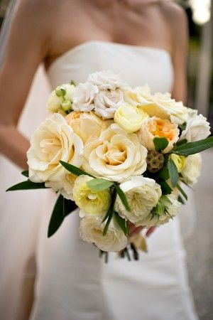 Loving this one-  White & pale yellow fall bouquet.  A little more colorful option.   Maybe a tad less yellow and trade green for gray.  I even like the scabiosa.