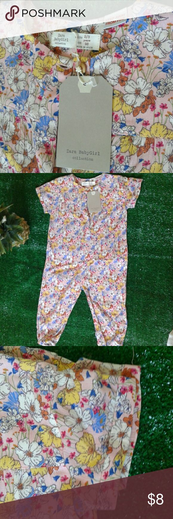 Brand new Zara baby girl floral jumper Very light comfy Zara One Pieces