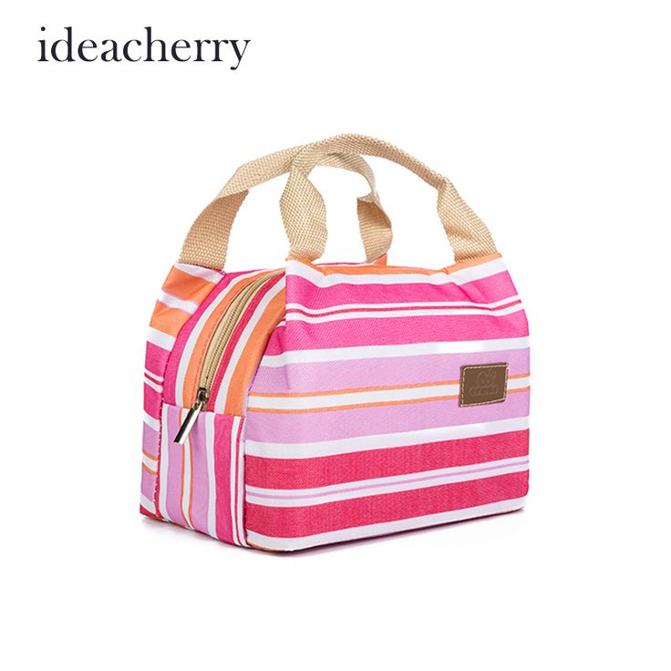 IdeaCherry Insulated Neoprene Lunch Bag Canvas Stripe Thermal Kids Baby Tote Lunchbag Picnic Lunchbox Lancheira Termica Bolsa