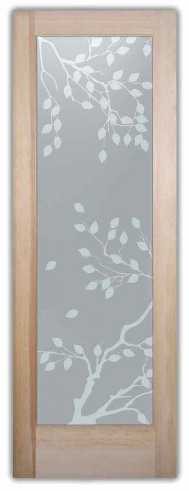Privacy Glass Doors etched frosted cherry tree oriental door glass