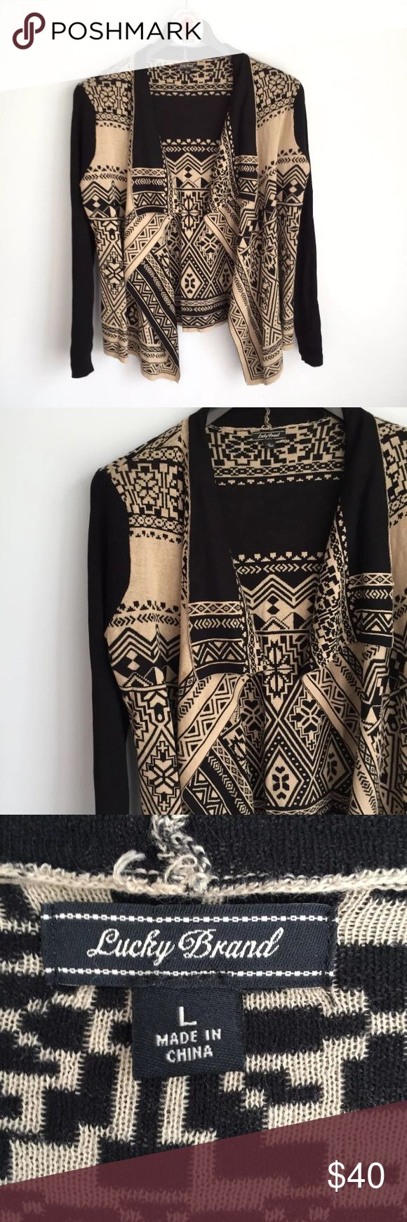 """Lucky Brand Waterfall Aztec Print Cardigan Sweater Women's Lucky Brand Double Knit Waterfall Open Front Aztec Print Cardigan Sweater Long Sleeve Pre-owned in great condition with no flaws Size L Measures 22"""" across back arm pit to arm pit laying flat Length is 27"""" long Lucky Brand Sweaters Cardigans"""