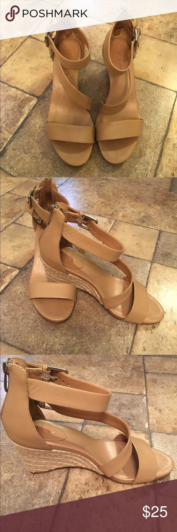 Tahari Espadrille Ankle Sandals Stylish Tahari ankle sandals in nude. Espadrille-like bottom with adjustable straps around the ankles, zipped back. Only worn once! Very very light wear on the soles,  otherwise perfect condition! Tahari Shoes Sandals