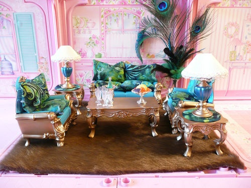 Nice Ooak Barbie Living Room House Furniture Diorama Lot Chairs Rug Pillows Part 21