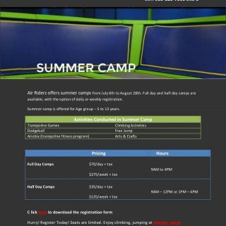 To register, visit our facility Email: lexie@airriderz.com Call: 905-820-7500 ext. 5 Air Riderz offers summer camps from July 6th to August 28th. Full day a. http://slidehot.com/resources/summer-camp-mississauga-its-not-too-late-to-register.61865/