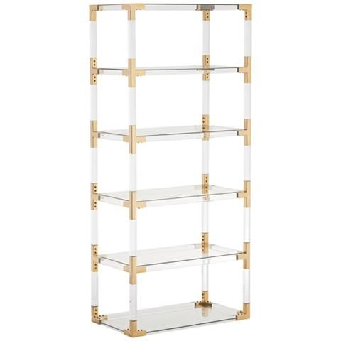 Hanna 70 3 4 Clear Acrylic And Gold 6 Shelf Open Bookcase 32p94 Lamps Plus Open Bookcase Gold Interior Design Shelves