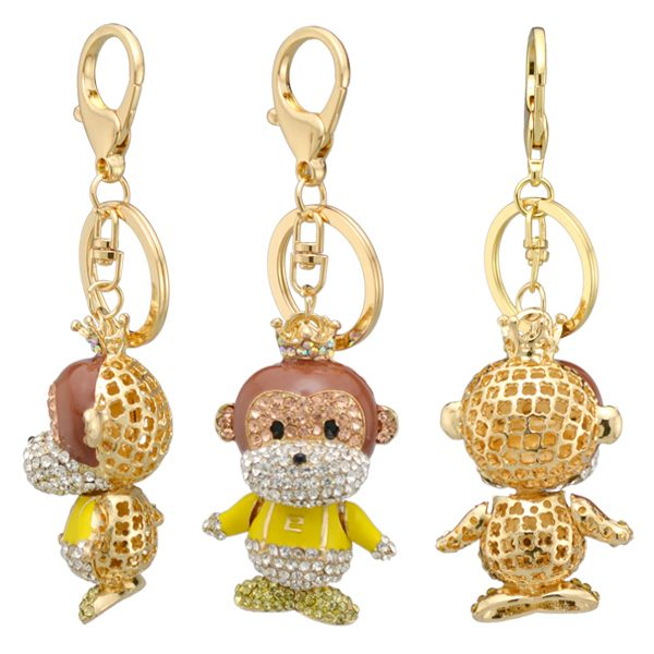 China alibaba metal alloy gold plating multicolor crystal bald person wear crown pendant keychain jewelry in yiwu futian market