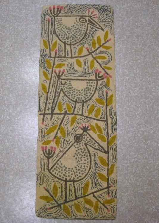 1950s artist signed DANISH MODERN WOOL HOOK TAPESTRY RUG (Evelyn Ackerman style - yes!)