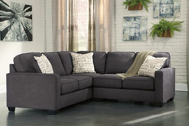 Charcoal Alenya 2-Piece Sectional View 1 -- corner section incorporated with left-facing section.  ASHLEY FURN $1100 (sale 8/2016$808)  [dely Everett]