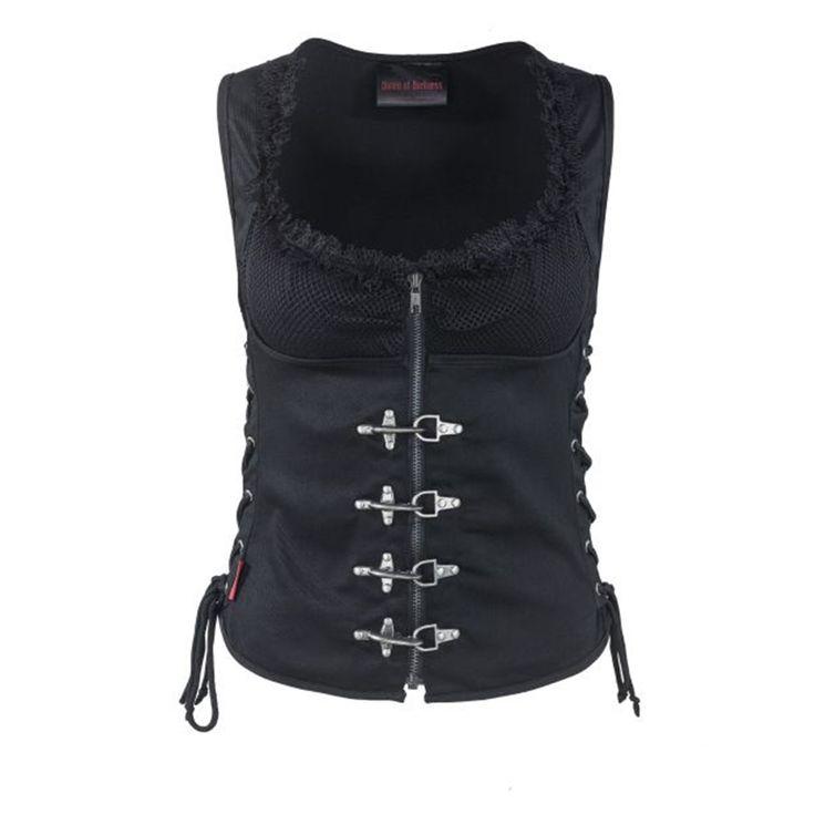 Top met gaas en corset detail zwart - Metal Rock