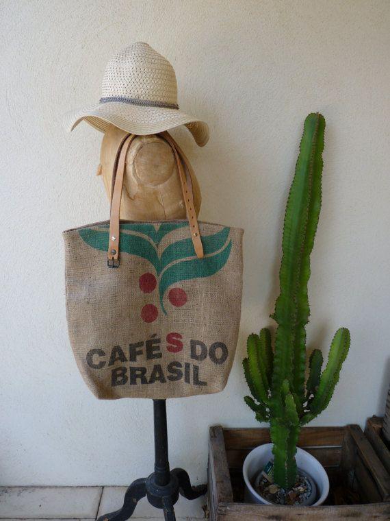 Sac cabas en toile de jute doublé café do Brasil//