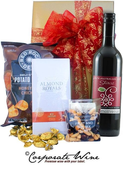 Savoury treats, chocolate  nuts and a bottle of our popular South Australian Shiraz make up this festive Corporate Wine Gift Hamper.